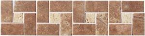 SDMJ9010 Travertin hnědá bordura-kamenná mozaika 30x7,5x0,9